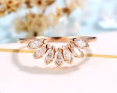 Vintage Moissanite wedding band women rose gold band bridal Marquise cut ring curved wedding ringpromise ring anniversary gift for her
