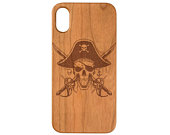 Pirate Skull iPhone 11 Pro Max iPhone X XR XS Max iPhone 8 Plus Samsung Galaxy S10 Plus Note 10 Plus Real Natural Wood Phone Case