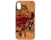 Skull with Flowers 2 iPhone 11 Pro Max iPhone X XR XS Max iPhone 8 Plus Samsung Galaxy S10 Plus Note 10 Plus Real Natural Wood Phone Case