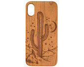 Cactus iPhone 11 Pro Max iPhone X XR XS Max iPhone 8 Plus Samsung Galaxy S10 Plus Note 10 Plus Real Natural Wood Phone Case