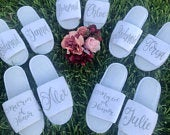 Bridesmaid Slippers Personalized Wedding Slippers Bride Slippers Bachelorette Party Favors Bridesmaids Gifts Honeymoon Bridal Shower