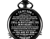 Mom Dad To Son I Will Always Carry You In My Heart Engraved Pocket Watch Time Machine Personalized Birthday Anniversary 4544/45/46