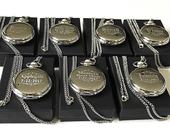 8 Groomsman gifts Engraved pocket watches 8 Laser engraved pocket watches Personalized Engraving Wedding gift set of 8 Gift for him