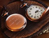 Anniversary Gift For Men Engraved Pocket Watch Copper Personalized Groomsmen Gifts Engraved Wedding Date