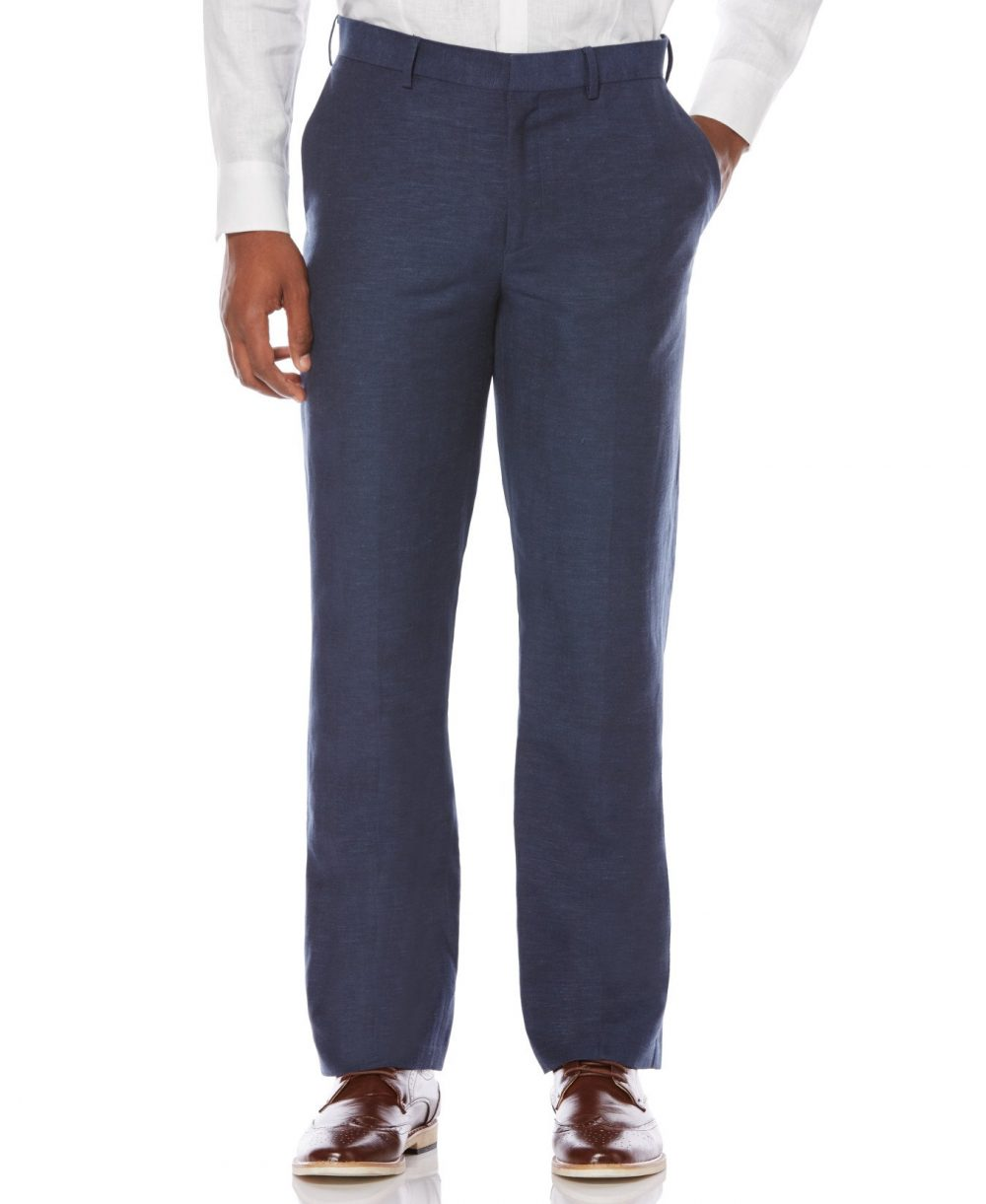 Cubavera Men's Big & Tall Linen Blend Flat Front Pant (Dress Blues) - Size 48