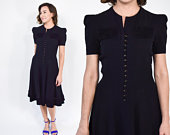 1940s Little Black Dress 40s Rayon Crepe Ruffle Trim Flared Dress Small