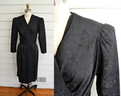 Vintage 1980s silky black wrap dress / Extra Small to Small vintage dress / Little black dress / long sleeve V neck with flowers