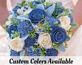 Wood Flower Dusty Slate Blue Wedding Bouquet / Rustic Bridal Bridesmaid Bouquet / Wooden Sola Wood Flowers / White Cream Ivory