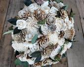 Rustic Wood Flower Bouquet with Flowers in Cream and Bark with Green Leaves and Eucalyptus Seeds bridal bouquet, bridesmaid flower girl