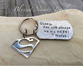 Hand Stamped Stainless Steel personalized Superman Dad keychain, grandad, new dad, super hero, Fathers Day Super Man