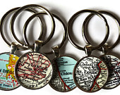 Personalized map keychain, Custom keychains, Mens Gift, Personalized Custom husband gift, Anniversary Gift, Key Chain, Dad gift for him