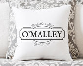 Wedding Gift Wedding Gifts Personalized Pillow Newlywed Gift Engagement Gift Rustic Wedding Gift Gift for Bride Linen Pillow