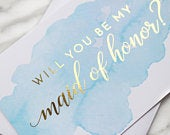 Maid of Honor Card // Bridesmaid Card // Bridesmaid Proposal Card // Bridal Party Cards // Wedding Party Cards // Blue Watercolor
