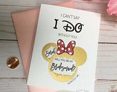 Personalized Bridesmaid proposal Disney Scratch off Cute Minnie Ears Bridesmaid card Ask bridesmaid Card I cant say I Do Disney Wedding