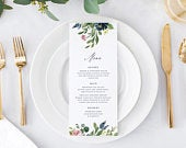 Menu Card Template, Printable Wedding Menu Cards, Instant Download Menus Decorations, DIY Editable, Floral Navy Dusty Rose, Autumn Templett