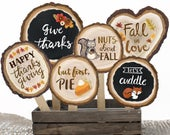 Fall Party Photo Booth Props 20 Printable Hand Painted Wood Slice Signs Thanksgiving Decorations Rustic Autumn Photobooth