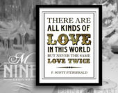 Gold Party Sign Printables / All Kinds of Love In This World / Gatsby Quote Signs, Printable Party Download, Wedding Signs BWG65