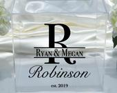Personalized Wedding Clear Acrylic Card Box Date Choose The Color Engagement Party Bridal Shower Anniversary Decor EST
