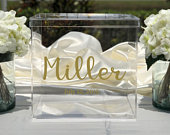 Personalized Wedding Clear Acrylic Card Box Date Choose The Color Engagement Party Bridal Shower Anniversary Decor