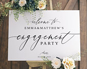 ENGAGEMENT PARTY decorations, Engagement welcome sign, Engagement wedding sign template, Modern engagement sign Rustic party decor 021FD