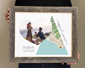 Engagement Gift Map of Engagement Location Engagement Gift Basket, Engagement Party Decorations, Custom Map Gift for Bride to Be, Said Yes