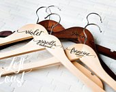 6 Wedding Dress Hangers Personalized Calligraphy Bride Bridesmaid Gift for the Couple Matron Maid of Honor Engraved Wood Quick Ship