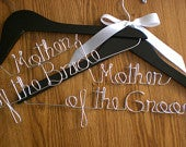 Set of 2 Wedding Hangers/Mother of the Bride and Mother of the Groom/Personalized Hanger/Personalized Custom Bridal hanger/ Bride / Bridal P