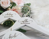 set of 3 Personalized Bridesmaid Hangers, Wedding Dress Hanger, Engraved Bridesmaid Hanger