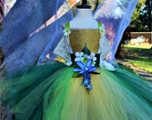Gold green fairy dress,3D flower fairy costume dress, fairy costume birthday dress, theatrical fairy dance tutu dress
