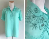 Vintage 1950s Sheer Teal Aqua Green Blouse Top Eyelet Embroidered Floral Scalloped Short Sleeve Lightweight Solid Dress Shirt Size Medium