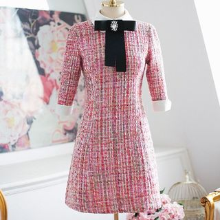 Elbow-Sleeve A-Line Tweed Dress With Rhinestone Brooch & Bow