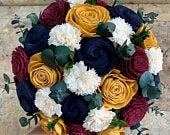 Navy, Gold, Burgundy, Ivory Sola Wood Flower Bouquet