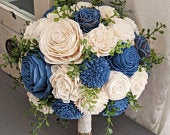 Steel Blue Sola Wood Flower Bouquet with Greenery Bridal Bridesmaid Toss