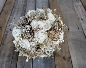 Bark and Cream Gold Brooch and Glitter Wood Flower Bouquet for bride bridesmaid or flower girl