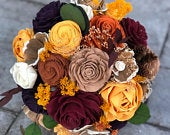 Fall Flower Bouquet Sola Flower Bouquet Wedding Bouquet Wooden Flower Bouquet Autumn Wedding Thanksgiving Bouquet Wood
