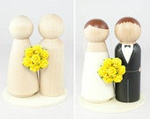 DIY Yellow Wedding Cake Topper Set 2 unfinished wooden peg dolls, 1 flat wooden circular base, and 1 tiny handmade yellow rose bouquet