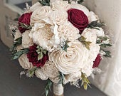 Ivory / Raw with Wine Accents Sola Wood Flower Bouquet with Babys Breath and Greenery Bridal Bridesmaid Toss