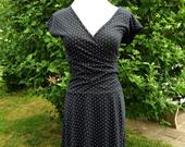 Vintage 80s Black White Polka Dot Faux Wrap Dress, Size S 1980s Hypnotik Dropped Waist, Cap Sleeve