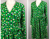 Vintage 1960s Green Square Geometric Print Wrap Dress / Medium / 60s Mod Long Sleeve Dress