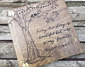 Large custom wooden alternative guest book, Personalized for your wedding day or special event tree and love birds