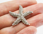 3 pcs STARFISH Flatback Style Rhinestone Embellishment Vintage Wedding Bridal Accessories Invitations Crystal Hair Clip Button Brooch