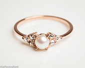 14k Rose Gold Engagement Ring Pearl Engagement Ring Diamond Engagement Ring Dainty Ring Pearl Jewelry 14k Gold Ring Pearl Ring