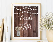Rustic Cards and Gifts Sign, Babys Breath Cards and Gifts Sign, Gift Table Sign, String Lights Cards and Gifts Sign, Printable Sign, W333