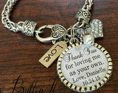 Step Mother of the BRIDE gift, Step mom gift, wedding keepsake, CUSTOM gift, although not mother and daughter by birth, step mom bracelet