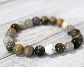 Reiki Charged Dendritic Moss Opal 8mm Bracelet Heal Past Lives, Connect with Nature, Mother Earth, Attract Abundance