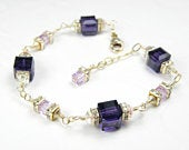 Gold Dark Purple Bracelet, Eggplant and Violet Swarovski Crystal Cube Bracelet, Mother of the Bride Modern Wedding Jewelry, Anniversary Gift