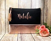 Black and Rose Gold leather and canvas makeup bag, custom makeup bag, bridesmaid gift, custom bridesmaid gift, custom makeup bag, unique bag