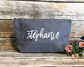 Large personalized grey canvas makeup bag, bridesmaid gift, personalized makeup bag, bridesmaid gift, gift for girlfriend, gift for bff