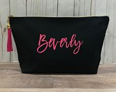 Large Personalized Black Canvas Makeup Bag for Bridesmaid Gifts, Large Black Cosmetic Bag, Bachelorette Party Favors, Wedding Gift for Bride