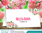 DiY Printable Wedding Place Card Template Instant Download EDITABLE TEXT Rustic Blush Flowers 3,5x2 Microsoft Word HBC3n